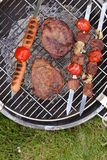 Cooking on the barbecue grill assortment  steak and skewers Royalty Free Stock Images
