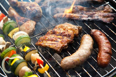 Cooking on the barbecue grill, bright colorful vivid theme Royalty Free Stock Photo