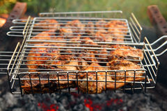 Cooking barbecue on grill close-up Royalty Free Stock Images