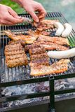 Barbecue. Cooking on the barbecue - sausages, spare ribs, pork Royalty Free Stock Photography