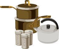 Cooking battery. Pans, teapot, salt-cellar and sugar-basin on white background Stock Images