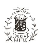 Cooking Battle Sign and  Label Monochrome Design Stock Photography