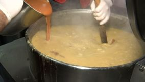 Cooking beans in a large pot