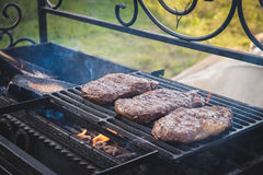 Cooking beef. On coals in the fire Stock Image