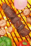 Cooking beef kebab on barbecue grill Stock Photos
