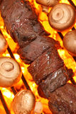 Cooking beef kebab on barbecue grill. Beef kebab and mushrooms on a fire hot barbecue grill. Barbecue & Outdoor Cooking Collection Stock Image
