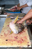 Cooking big fish. Butchering big fish in the kitchen Royalty Free Stock Photography