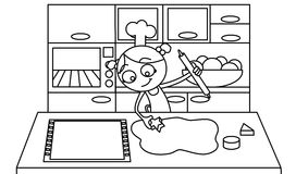 Cooking biscuits. Black and white drawing about a little girl cooking some biscuits in the kitchen Stock Image
