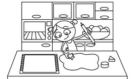 Cooking biscuits. Black and white drawing about a little girl cooking some biscuits in the kitchen Stock Photo