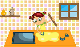 Cooking biscuits. Coloured drawing about a little girl cooking some biscuits in the kitchen Stock Images