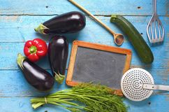 Cooking,blackboard for recipes Stock Photo