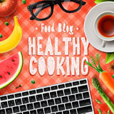 Cooking blog, healthy cooking recipes. Online,  illustration Royalty Free Stock Photos