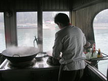 Cooking On Boat Stock Images