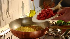 Cooking bolognese meat sauce stock video footage