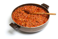 Cooking Bolognese Sauce in Pan Stock Photos