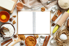 Cooking book and utensils Stock Image