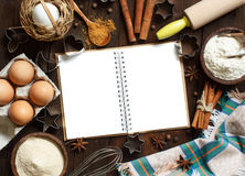Cooking book and utensils Royalty Free Stock Photography