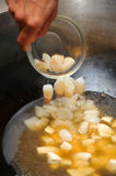 Cooking braised bean curd with prawn soup Royalty Free Stock Images