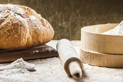 Cooking bread stock images