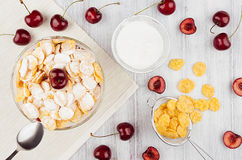 Cooking breakfast with golden corn flakes, ripe cherries, powdered sugar on white wood board top view. Royalty Free Stock Image