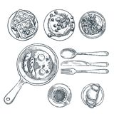 Cooking breakfast, top view sketch illustration. Set of isolated hand drawn morning meal. stock illustration