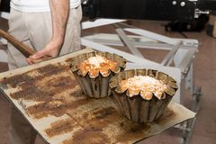 Cooking brioches at the pastry cook. A cooking brioches at the pastrycook Stock Images