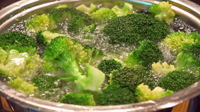 Cooking Broccoli (in a pot) stock video