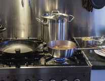 Cooking a broth stock photos