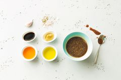 Cooking - brown salad dressing and recipe ingredients Stock Photos