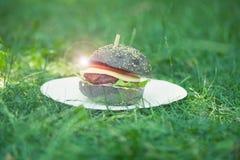 Cooking burgers at a picnic Royalty Free Stock Image