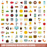 100 cooking business icons set, flat style Royalty Free Stock Image