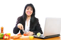 Cooking businesswoman Stock Photo