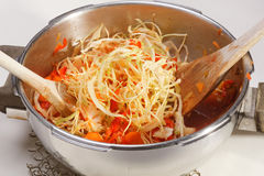 Cooking Cabbage and Red Peppers Royalty Free Stock Photography