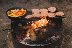 Cooking on camp fire Royalty Free Stock Photos