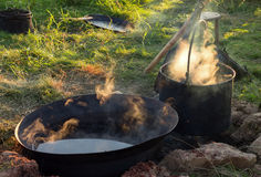 Cooking in the camp on open air Stock Image