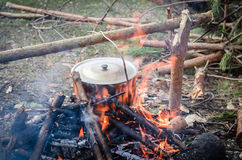 Cooking in the camp on open air Stock Photography