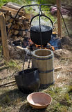 Cooking in the camp on open air Stock Images
