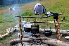 Cooking on a campfire Stock Photo