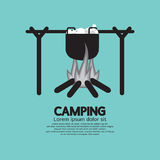 Cooking On Campfire. Vector Illustration Royalty Free Stock Images