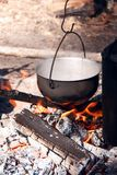 Cooking in a camping trip, outdoor kitchen. stock photo