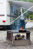 Cooking at a Campsite Royalty Free Stock Photography