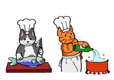 Cooking cats Stock Photo