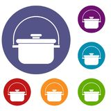 Cooking cauldron icons set Royalty Free Stock Images
