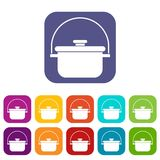 Cooking cauldron icons set Stock Photography