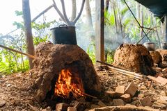 Cooking with char kiln and a pot. In a farming resort at Taoyuan City, Taiwan royalty free stock photo