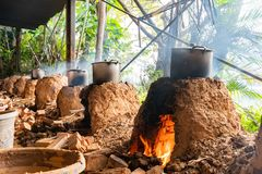 Cooking with char kiln and a pot. In a farming resort at Taoyuan City, Taiwan royalty free stock photography