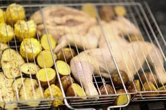 Cooking on chargrill chicken barbeque and vegetables mix Royalty Free Stock Photos