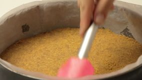 Cooking cheese cake. With cherry and raspberry video footage stock footage
