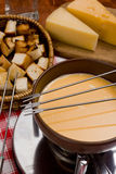 Cooking cheese fondue. Set of products and utensils for cooking cheese fondue Royalty Free Stock Photos
