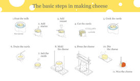 Cooking cheese instructions. Illustration of the process of cheese production. Cooking cheese instructions Royalty Free Stock Images